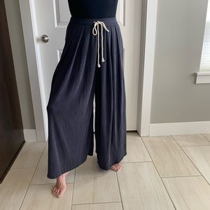 Free people intimately grey wide leg pants small